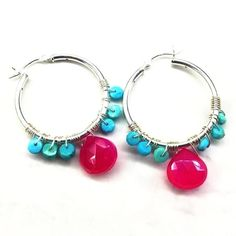 4d3438cfbf4 Pink and Turquoise Silver Wire Wrap Hoop Earrings