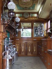 Interior of Burton on Trent Staffordshire waggon with rich cut-glass, mahogany and mirrored panels.