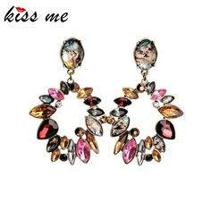 Jewelry Elegant Colorful Rhinestone Big Round Earrings for Women Fashion Long Drop Earrings Accessories Check it out!Get it here --->  http://www.servjewelry.com/product/kiss-me-jewelry-kiss-me-elegant-colorful-rhinestone-big-round-earrings-for-women-fashion-long-drop-earrings-accessories/ #shop #beauty #Woman's fashion #Products #homemade