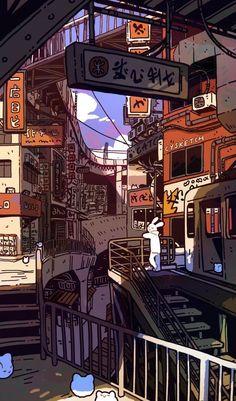Art of Cheryl Young Aesthetic Japan, Japanese Aesthetic, Aesthetic Art, Aesthetic Anime, Anime Scenery Wallpaper, Aesthetic Pastel Wallpaper, Cartoon Wallpaper, Aesthetic Wallpapers, Retro Wallpaper
