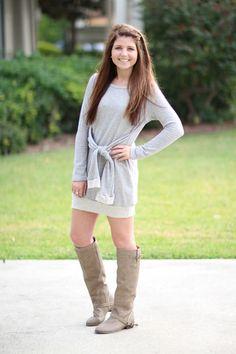 Everything You Want Sweatshirt Dress - Grey