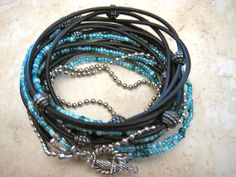 """Boho Chic Endless Black Leather Wrap Turquoise Beaded Bracelet with Silver Accents....""""FREE SHIPPING""""   by LeatherDiva, $39.00"""
