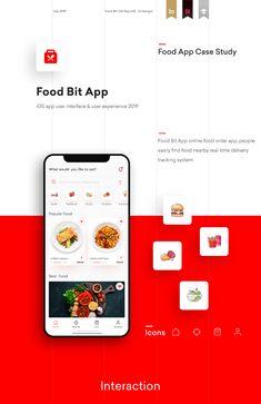 Food Bit App -UI UX design case study on Behance Android App Design, Ios App Design, Iphone App Design, Android Ui, Design Thinking, Application Ui Design, Ui Design Mobile, Mobile Ui, Restaurant App