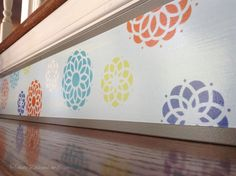 Stair Ideas ~ Old House Projects ~ Coastal & Beach Decor ~ Stair Riser Art from Tribute Designs is a great alternative to vinyl decals if your stairs are damaged and worn. Dress your stairs for less than you might think! Easy to install and the results are truly gorgeous...www.tributedesigns.etsy.com
