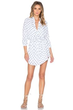Tularosa James Shirt Dress in White & Navy
