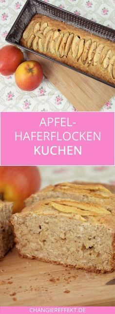 Apfel Haferflocken Kuchen - ein Rezept mit wenig Zucker - Backen - A delicious recipe for an apple oatmeal cake with almost no sugar! A recipe for apple bread, so to speak. It tastes wonderful with strawberry jam. Low Sugar Recipes, No Sugar Foods, Healthy Dessert Recipes, Apple Recipes, Smoothie Recipes, Snack Recipes, Paleo Dessert, Healthy Foods, Healthy Apple Cake