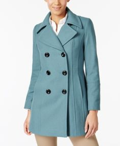 Anne Klein Double-Breasted Wool-Blend Peacoat - Blue XXL