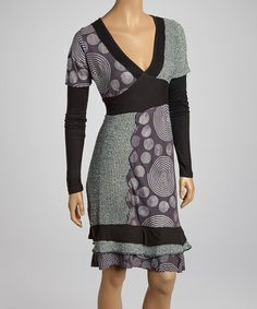 This Black & Metal Gray Spirals V-Neck Dress - Women is perfect! #zulilyfinds