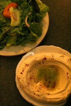 Salad and delicious hummus from Lebanon's Cafe on Carrollton!