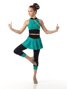 Girls Lycra Acro Jazz Contemporary Asian Dance Costume Unitard Child Medium in Clothing, Shoes, Accessories, Costumes, Girl's Costumes   eBay