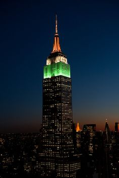 8/15/2017: Green, white & orange for India Day & the Federation of Indian Associations.