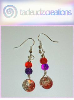 Purple & Orange Crackle beaded silver plated by TadeudzCreations, £3.50