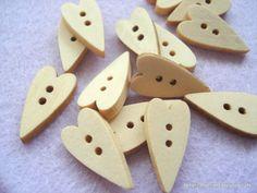 Folk Heart Shape Button 22mm Plain Heart Button by berrynicecrafts, £1.30