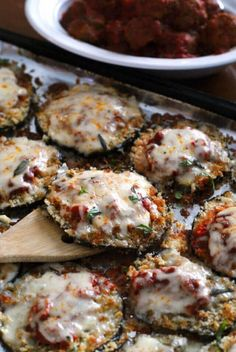 Sheet Pan Eggplant Parmesan is my favorite eggplant dinner that is made by baking breaded eggplant slices on a sheet pan until perfectly golden and then topping them with robust tomato sauce and lots of melty mozzarella cheese. Vegetable Recipes, Vegetarian Recipes, Cooking Recipes, Healthy Recipes, Healthy Pizza, Cooking Games, Fast Recipes, Healthy Baking, Eat Healthy