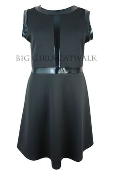 New Ladies Black Skater Dress Plus Sizes 16, 18, 20, 22, 24, 26