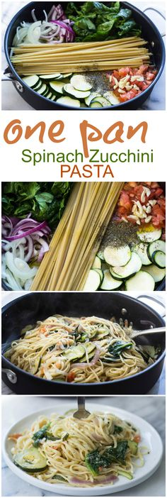 Quick One Pan Spinach and Zucchini Pasta (10 minutes, Vegetarian)