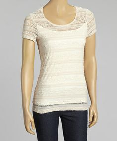 This Flesh Lace Cap-Sleeve Tee - Women & Plus by Zoé Collection is perfect! #zulilyfinds