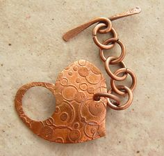 etched copper toggle clasp