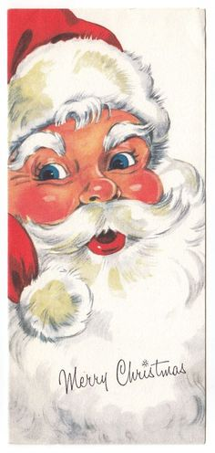 Vintage Greeting Card Christmas Santa Claus Jolly Face