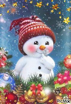 Merry Christmas Gif, Christmas Scenes, Christmas Love, Christmas Pictures, Christmas Snowman, Beautiful Christmas, Christmas Ornaments, Frosty The Snowmen, Santa And Reindeer
