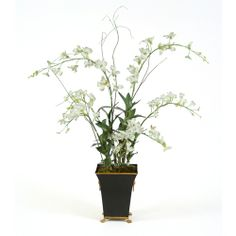Great Price on Silk Dendrobium Orchid in Toleware Series.Free Shipping. Faux Flower Arrangements, Dendrobium Orchids, Faux Flowers, Vase, Silk, Plants, Free Shipping, Design, Home Decor