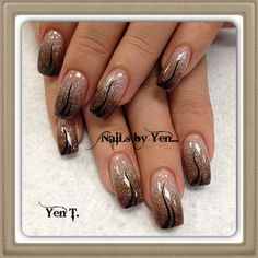 Fall tri-color acrylic gradient nail design with black hand painted nail art