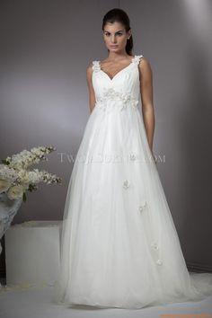 V-neck Schlichte Elegante Brautkleider Hamburg aus Softnetz mit Applikation