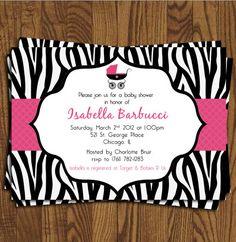 Baby Shower Invites  Zebra Print