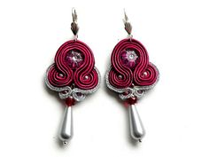 Soutache  marsala & silver    earrings by Bajobongo on Etsy