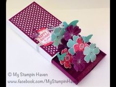 Matchbox Pop-up Card-Box bu Rachel Lewsley Box made with Envelope Punch board Stampin Up Flower Shop - video instructions, including envelope for matchbox Pop Up Box Cards, Flip Cards, Fancy Fold Cards, Folded Cards, Envelope Punch Board Projects, Origami, Exploding Box Card, Interactive Cards, Shaped Cards