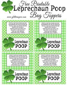 Free Printable Leprechaun Poop Treat Bag Toppers | Leprechaun Poop Poem