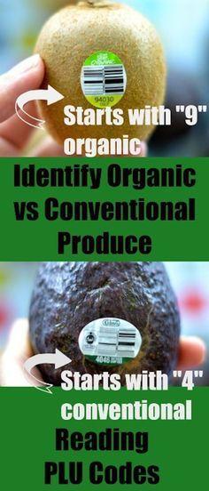 Identify Organic vs Identify Organic vs Conventional Produce With PLU Codes #organic #labels #health #wellness #readlabels