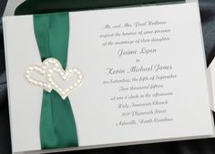 Emerald #Green & hearts #wedding #invitations & stationery ... Wedding ideas for brides, grooms, parents & planners ... https://itunes.apple.com/us/app/the-gold-wedding-planner/id498112599?ls=1=8 … plus how to organise an entire wedding ♥ The Gold Wedding Planner iPhone App ♥