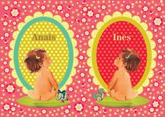 Twins geboortekaartje retro birthcard