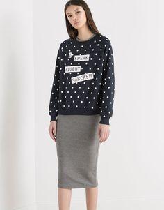 Pull&Bear - dames - sweaters - sweatshirt met stippenprint - marine - 05591352-V2016