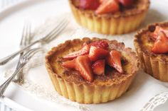 Custard tarts with rosewater strawberries