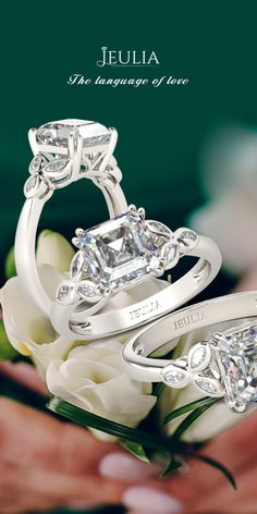 Jeulia Asscher Cut Created White Sapphire Engagement Ring #Jeulia