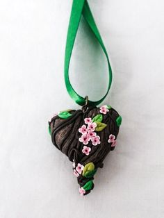Fantasy Forest Vine and Flowers Heart Pendant by FlyingCephalopod