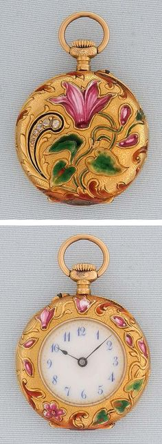Swiss Art Nouveau 18K gold, enamel and diamond ladies antique pendant watch circa 1890.