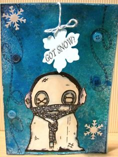 Christmas card using The Octopode Factory and Dylusions stamps and inks. Coloured using Distress Markers.