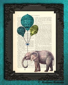 Elephant with Balloons Book Print