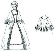 Patterns of Time 1770's Gentry Gown with Back Pleat Pattern, Colonial - Regency - Romance
