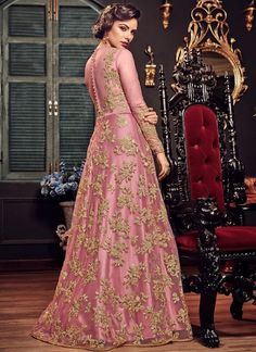9db568dbd0 Pink Princess With All Gold Embroidered Flared Anarkali Suit