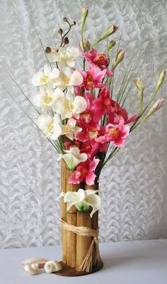 CENTERPIECEBeach Tropical Bamboo by AlexaBeachyWeddings on Etsy Wedding centerpiece, pink orchids, white orchids, wedding reception