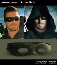 """Alternate mask designs for Oliver Queen and Brother Blood, created by conceptual illustrator, Andy Poon. Plus, costume illustrator, Christian Cordella (""""Iron Man released his artwork for Oliver's superhero and survival costumes. Green Arrow Costume, Green Arrow Cosplay, Black Siren, Arrow Black Canary, Cw Dc, Lance Black, Star Wars, Supergirl And Flash, Cosplay Tutorial"""