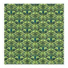 Blue and Green Damask Fabric Shower Curtain