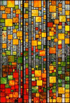 Mountain Aspens - stained glass artwork by Josephine A. Geiger