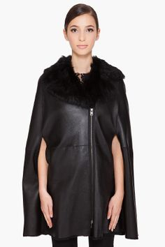 Like a fashionista superhero. McQ Alexander McQueen. Shearling leather cape.