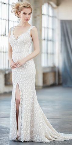 Madison James spring 2017 bridal sleeveless strap v neck full embroidered elegant front slit elegant sheath wedding dress sheer low back chapel train (mj303) mv #wedding #bridal #mermaid #weddingdress #lace #laceweddingdress