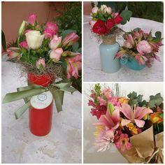 Mini vasos...mínis bouquet.